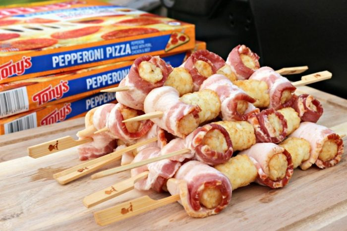 Grilled Bacon Wrapped Tater Tots