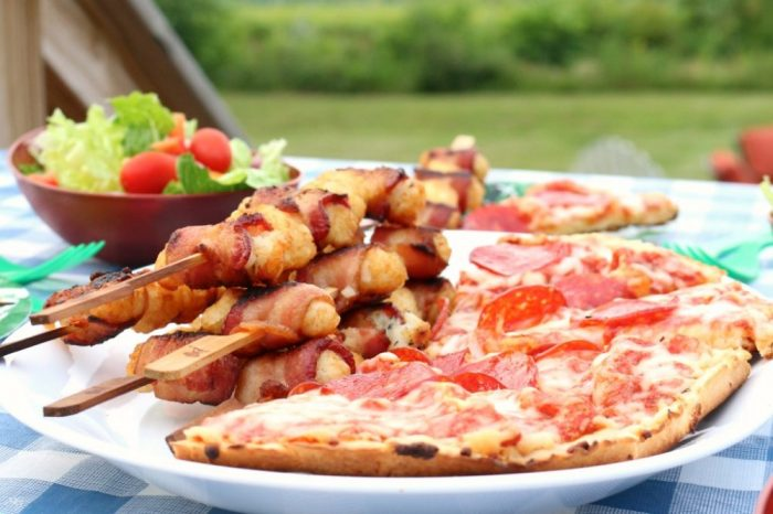 Grilled pizza, salad, tater tot appetizer