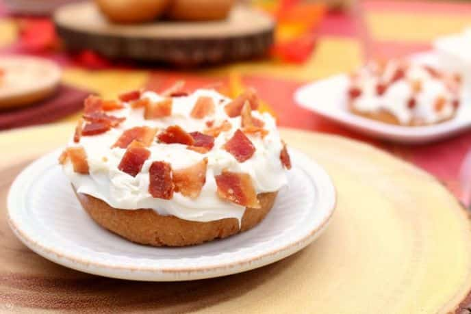 Pumpkin Donuts Topped with Cream Cheese Frosting and Bacon