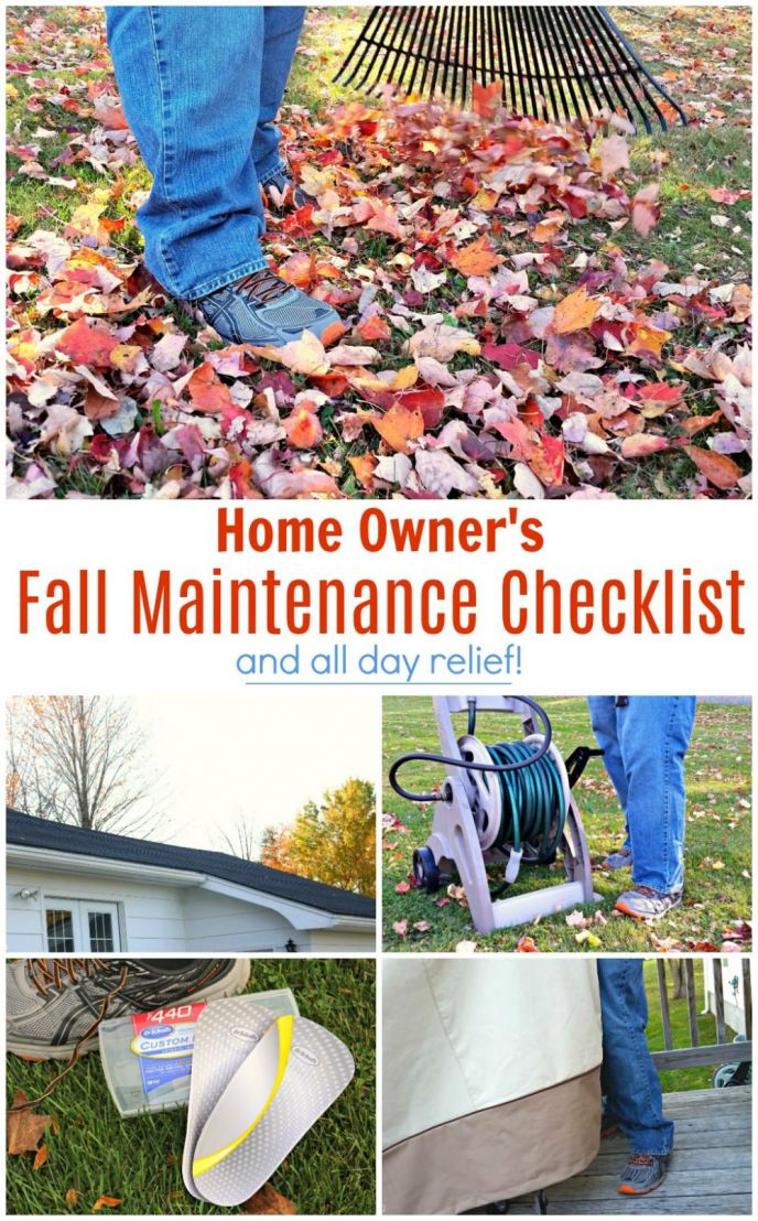 Fall Home Maintenance Checklist for Home Owners! Check out these things you must do to get your home ready for winter. These fall maintenance tips will get you ready and I'm also sharing how you can get all day relief with Dr. Scholls® Custom Fit® Orthotics! #CustomFitRelief