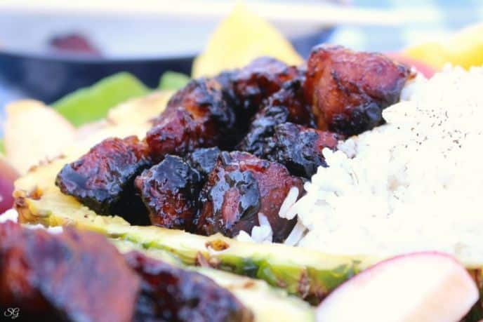 Grilled Pork Belly Burnt Ends on the BBQ