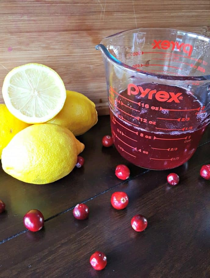 Cranberry and lemon ready to make an alcoholic drink recipe