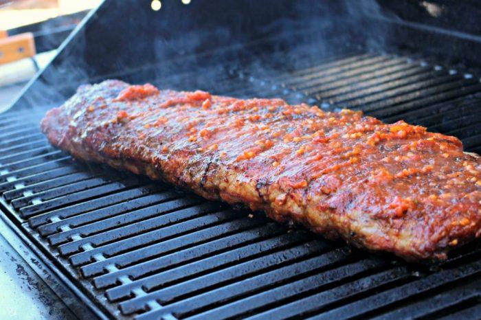 Sugar free BBQ sauce on grill