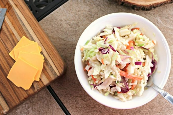 Coleslaw and cheese for rib sliders