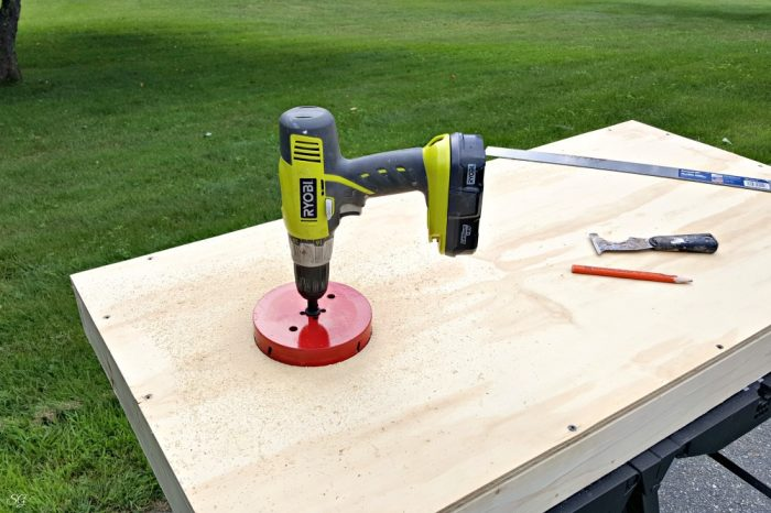 Drill for cornhole boards
