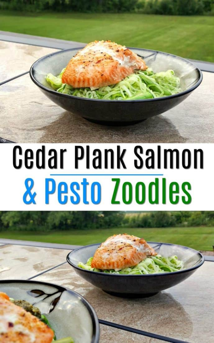 Pesto Zoodles and Cedar Plank Salmon recipe! Wicked easy and delicious recipe for zoodles with pesto and cedar plank salmon, all on the barbecue grill! #zoodles #recipe #salmon #grilling #grill #BBQ #food #foody #foodie #cooking #seafood