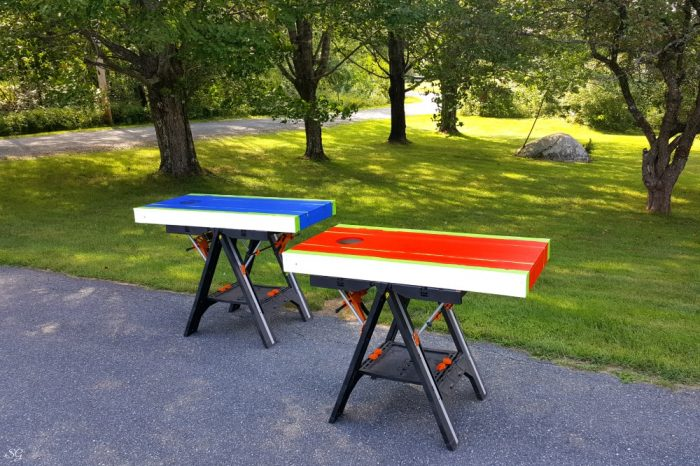Painting boards red white and blue