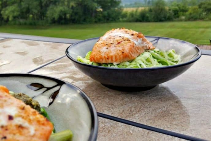 Salmon over peso zoodles recipe