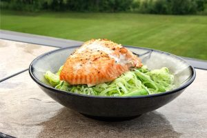 Pesto Zoodles with Cedar Plank Salmon Recipe on The Grill