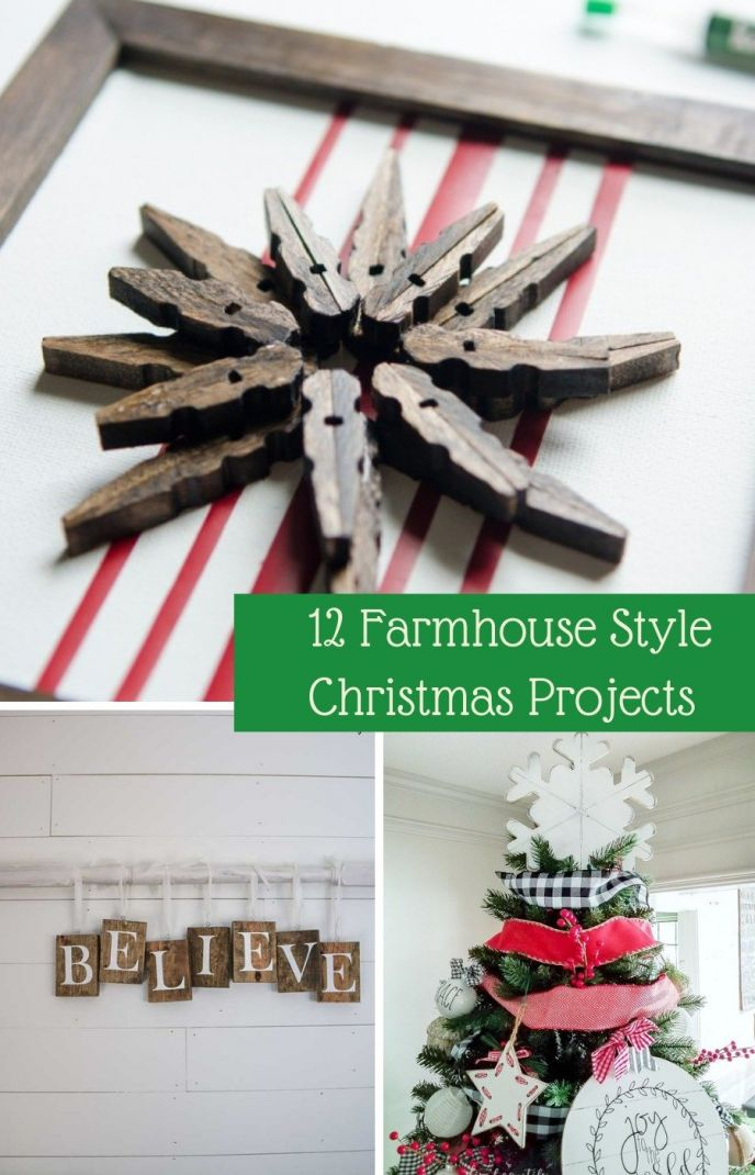 DIY Christmas projects for farmhouse decor! Make your home beautiful this holiday season with DIY farmhouse Christmas crafts!