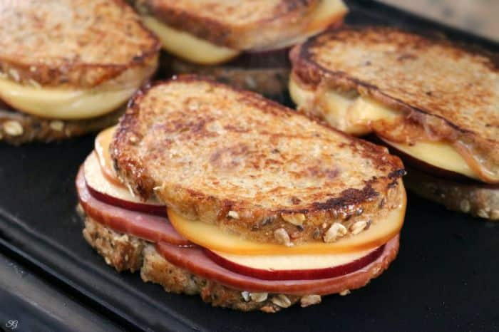 Grilled Ham and Smoked Cheese Sandwiches with leftover Christmas Ham! Lunch Christmas leftovers!