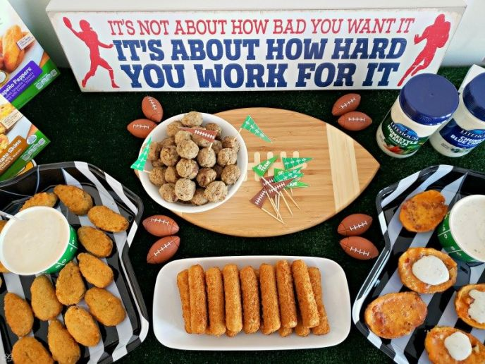 Football Party Big Game Food! Mozzarella Sticks, Potato Skins, Meatballs, and Jalapeno Peppers stuffed with cream cheese!