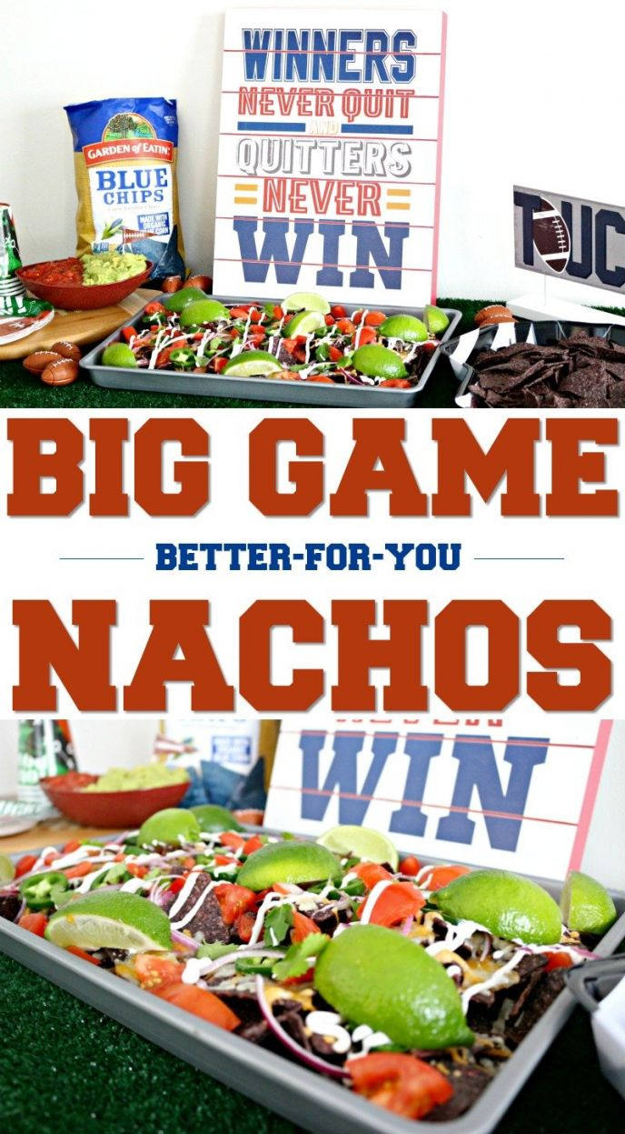 Big Game Football Sheet Pan Nachos Recipe! Fun food for football homegating. CLICK to get the recipe for these delicious better-for-you nachos made with Garden of Eatin'® Blue Corn Tortilla Chips! #FindNutritiousHere #FoodGoals #nachos #football #tailgating #homegating #recipe #footballfood #recipes #easyrecipes #yummy #delish #eat #foodie