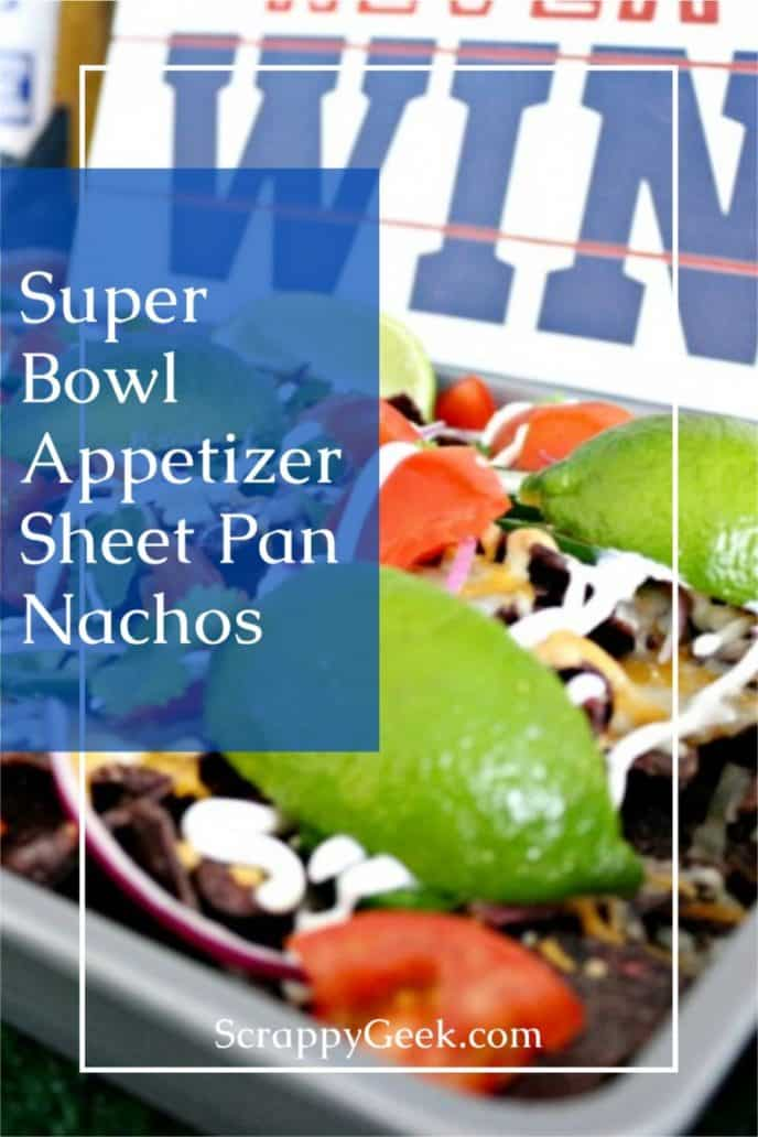 Super Bowl appetizer recipe for sheet pan nachos