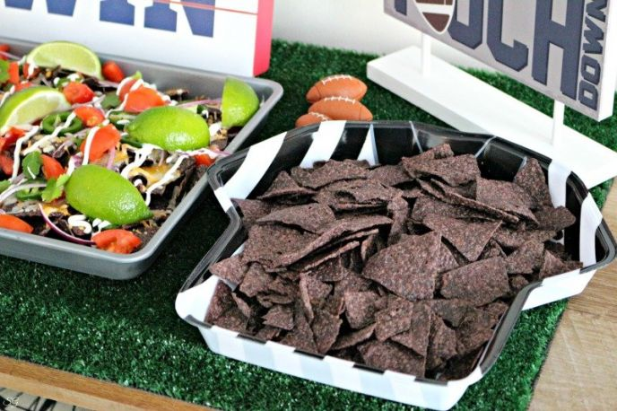 Game Day Football Sheet Pan Nachos with Blue Corn Tortilla Chips