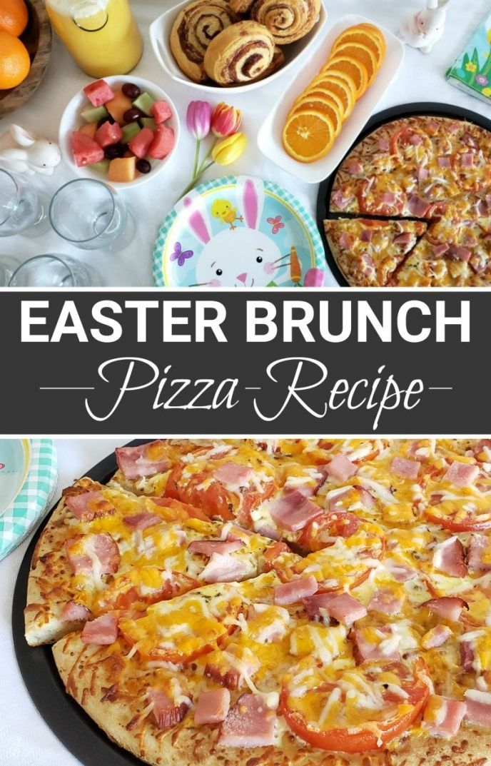 Easy Hatfield Ham Easter Brunch Pizza! Perfect for breakfast / lunch on Easter morning, this EASY recipe only has a few ingredients! #pizza #easter #brunch #EasterWithHatfieldHam #simplyHatfield #delicious #easyrecipes #yummy