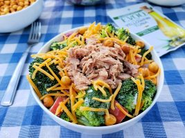 Broccoli salad with yellowfin tuna fish.