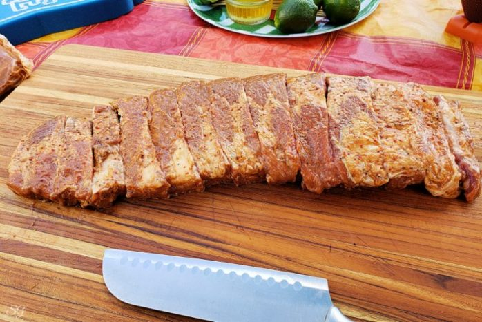 Sliced brown sugar ribs