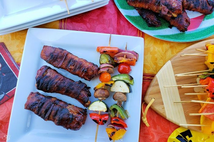 Grilled BBQ Ribs wrapped in thick cut bacon! #MakeEasyMoreInteresting #SimplyHatfield
