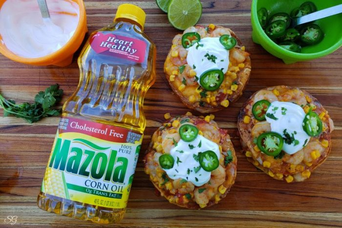 Delicious crunchy shrimp tostadas made using Mazola Corn Oil