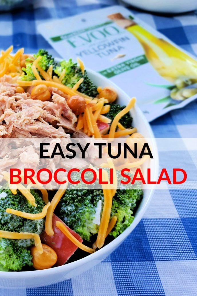 Tuna fish, broccoli, cheese, garbanzo beans, salad dressing in a bowl to make tuna broccoli salad