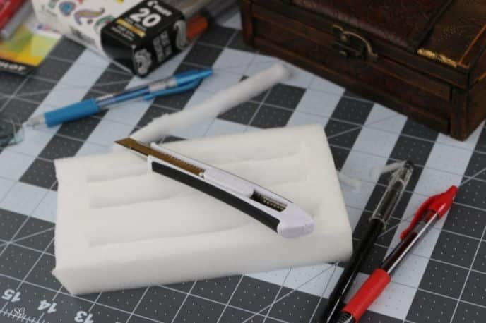 DIY Pen Box with Foam Insert Carved to Hold Pens