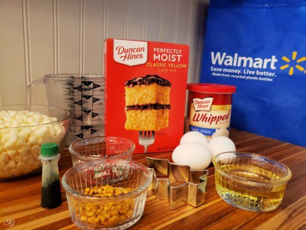 Ingredients to make Christmas tree cakes #DuncanHinesHoliday