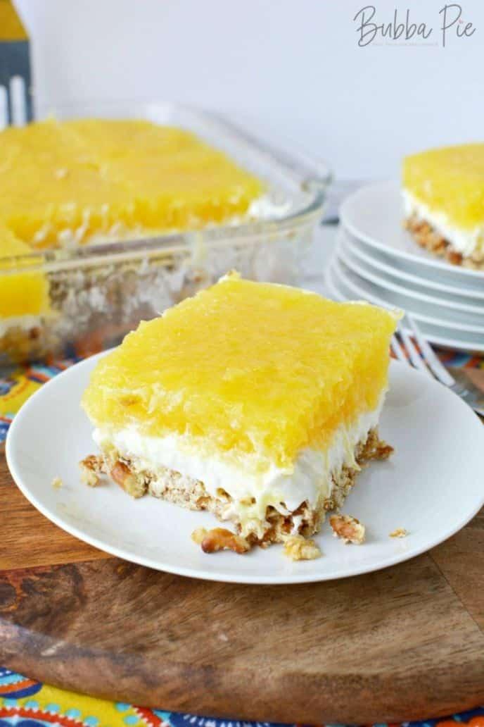 Pineapple Pretzel Salad Cake Dessert Recipe with Jello