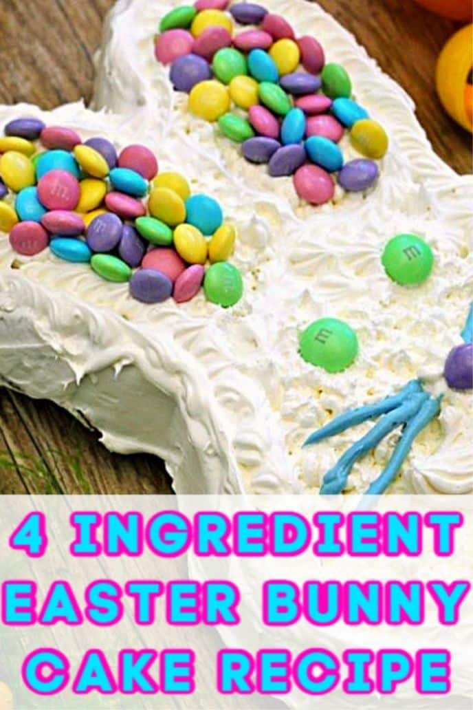 Bunny cake recipe with frosting and M&M's