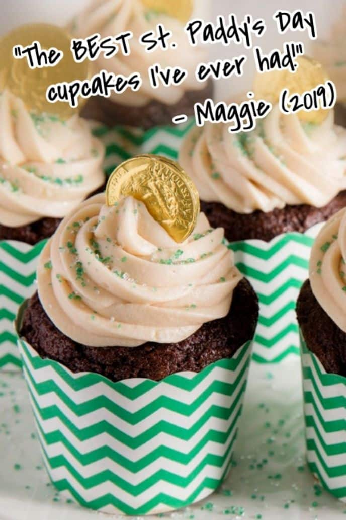 St. Patrick's Day Cupcakes - Guinness Beer Cupcakes with frosting.