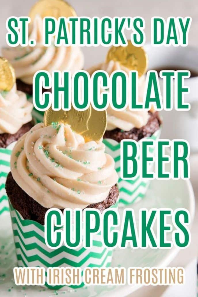 Chocolate Beer Cupcakes - St. Patrick's Day Dessert with Irish Cream Frosting