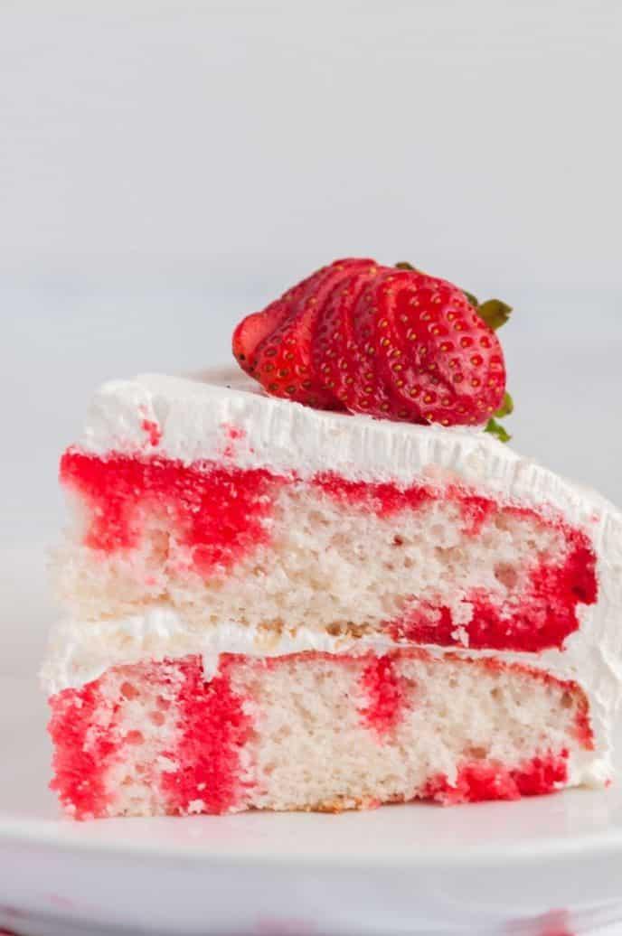 Strawberry Jello Poke Cake Recipe with Frosting
