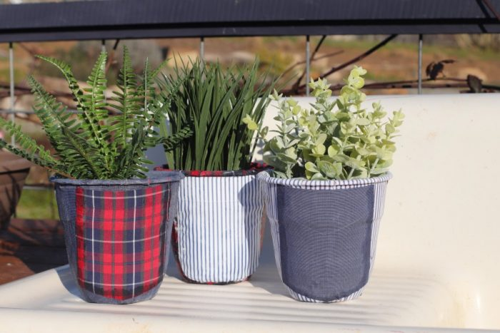 DIY Flower Pot Decor with Upcycled Fabric