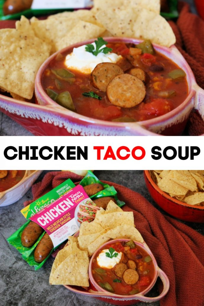 Chicken taco soup recipe. Easy taco night recipe made with al fresco Mild Mexican Style Chicken Sausage, vegetables, beans, sour cream, and served with fresh tortilla chips on the side.