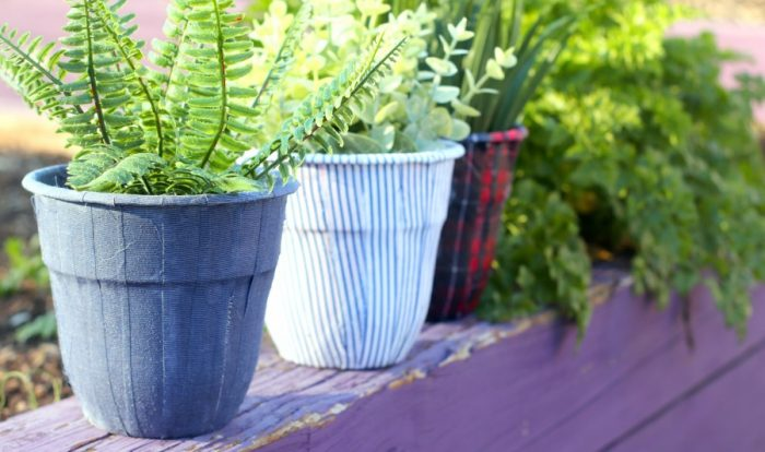 Easy Flower Pot Decoration Using Upcycled Men's Shirts