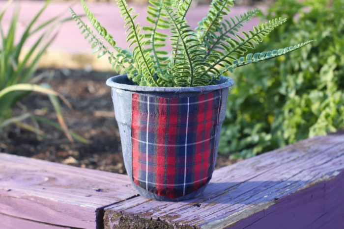 Upcycled Men's Shirts for Flower Pot Decoration DIY Project