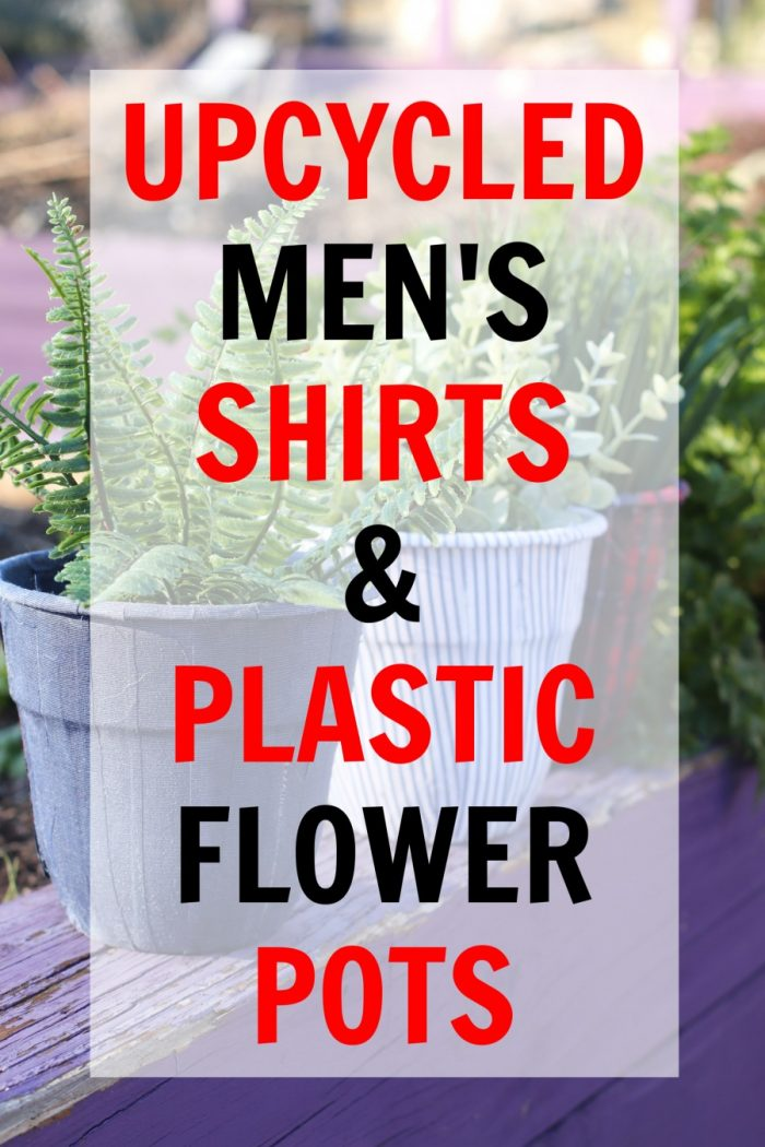 Flower Pot Decoration with Upcycled Men's Shirts