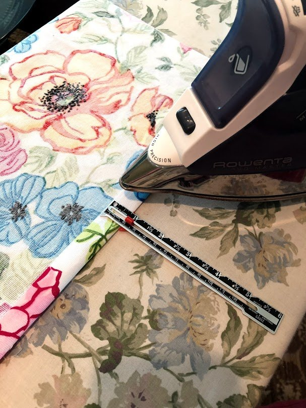 Ironing the fold for the sewing project