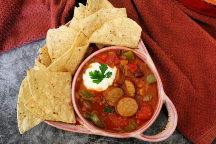 Chicken Taco Soup Recipe With Chicken Sausage and Tortilla Chips Finished Dish