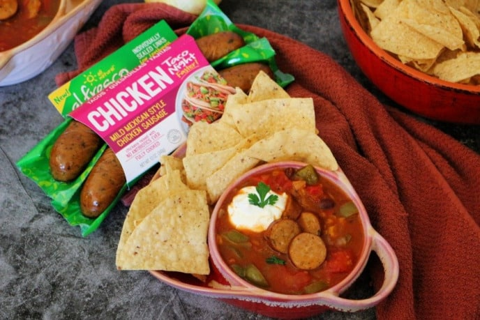 al fresco chicken taco soup recipe with chicken sausage, veggies, and tortilla chips