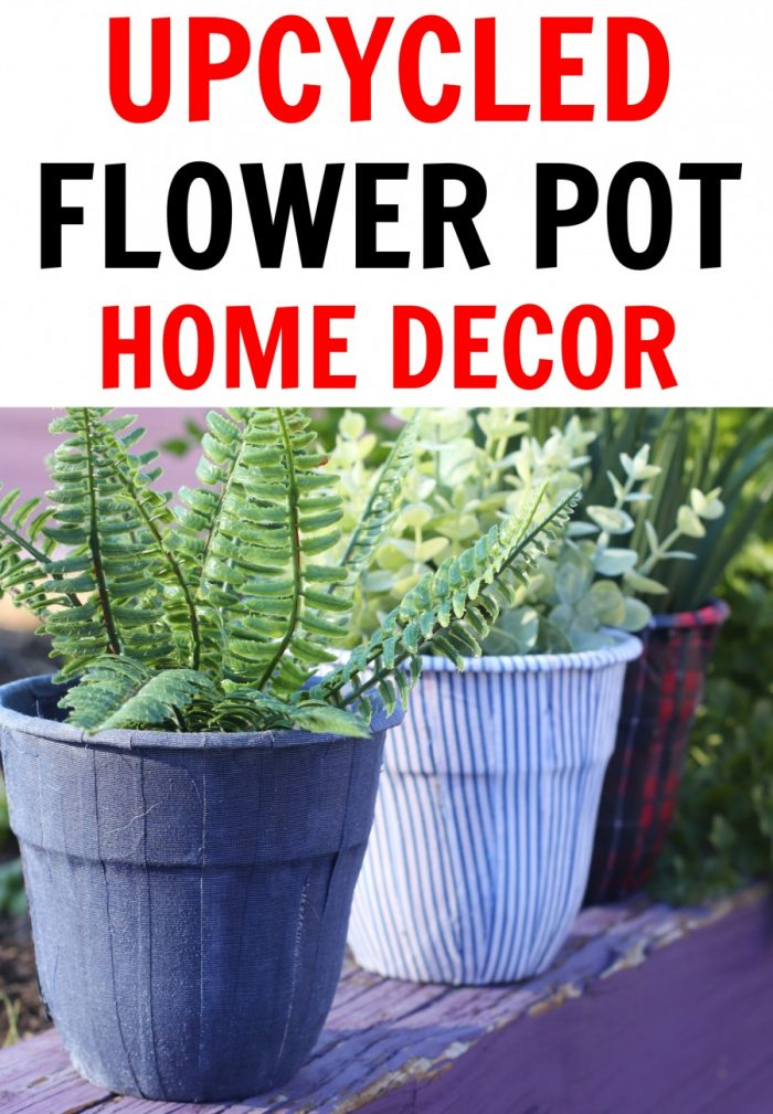Flower pot decoration home decor piece made with upcycled men's shirts!