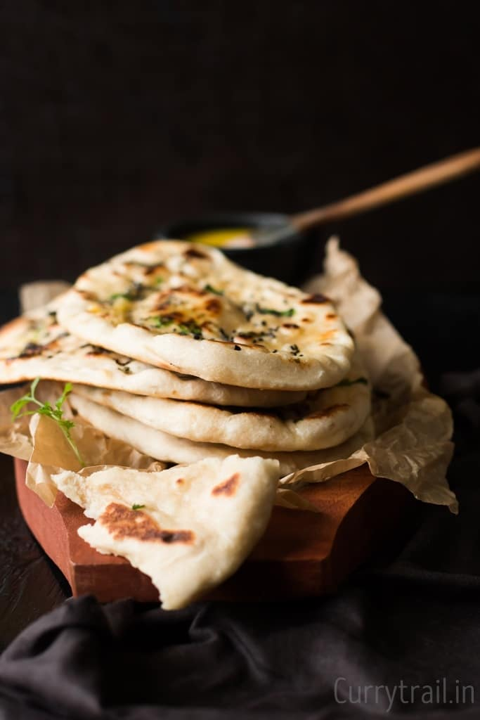 No Yeast Naan Bread, Flatbread stacked in a pile