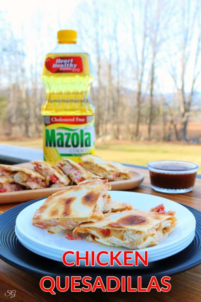 Chicken Quesadillas - easy recipe for homemade chicken marinade and grilled quesadillas filled with chicken.