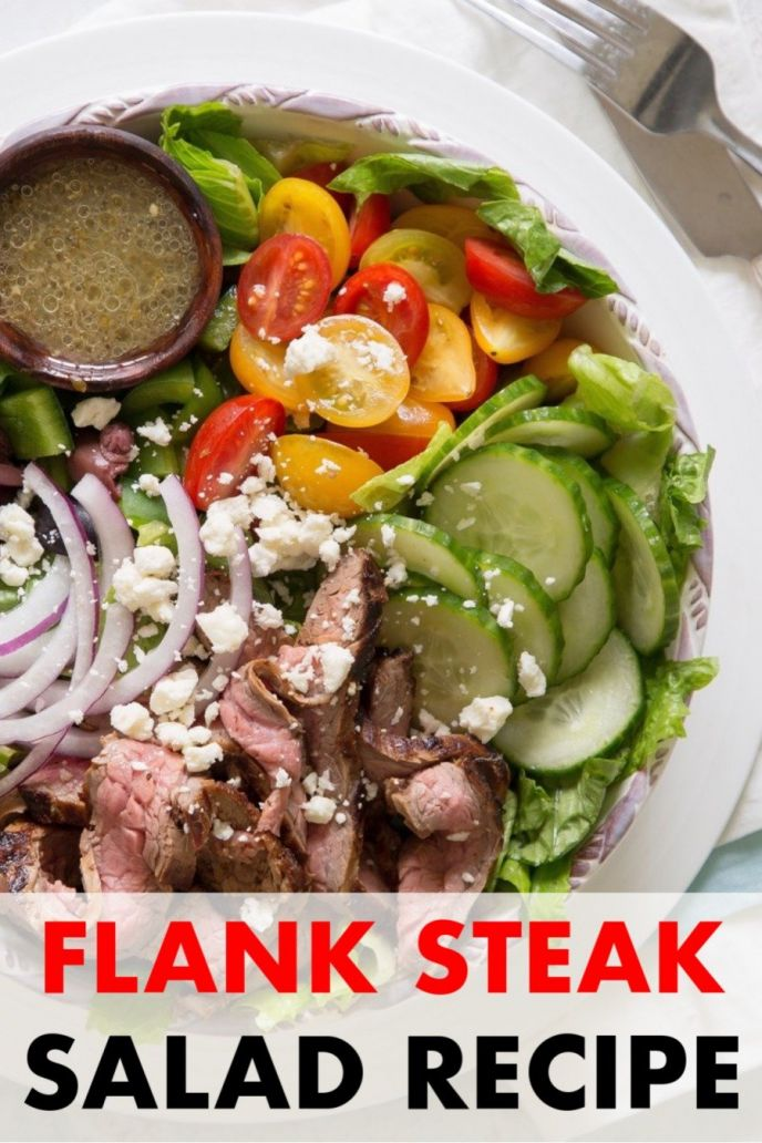 Flank steak salad Greek inspired recipe with flank steak, onions, peppers, cucumbers, Greek olives, marinade and more.
