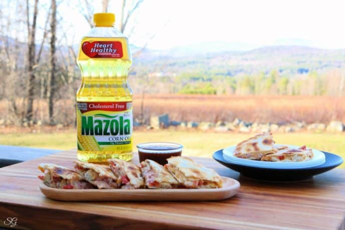 Chicken quesadillas recipe with Mazola Corn Oil homemade marinade