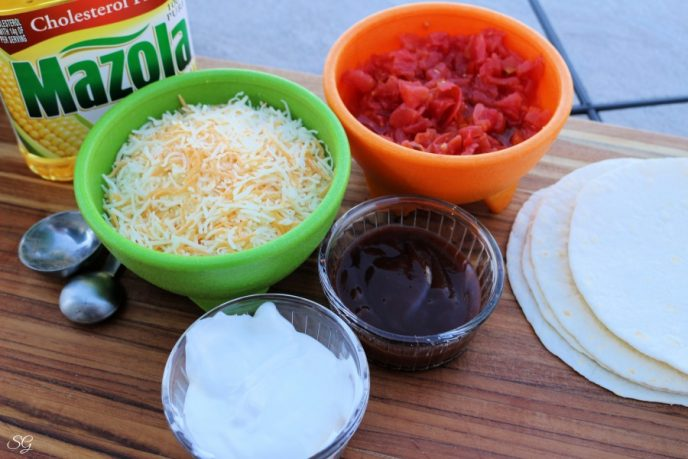 Ingredients for chicken quesadillas