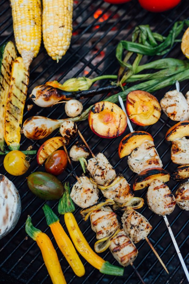 Chicken peach kabobs on the grill