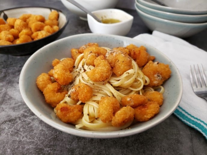 Garlic Pasta with Popcorn Shrimp
