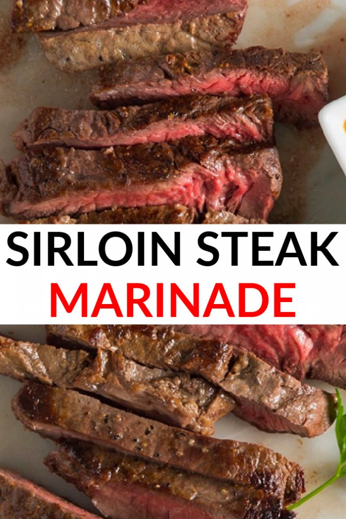 Sirloin steak marinade, steak on a plate soaking in its own juices and marinade