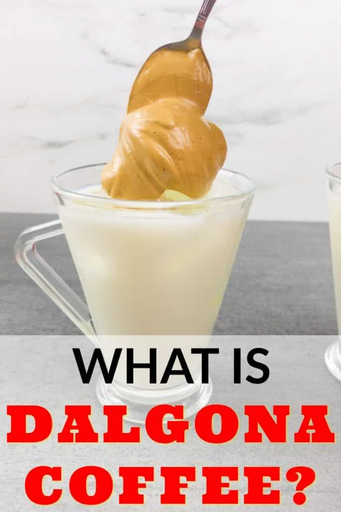 What is dalgona coffee? A photo of dalgona coffee being made with hazelnut flavoring.